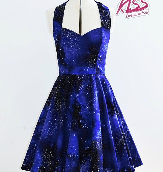 Space nebula dress- Womens galaxy halterneck 50's style