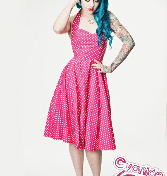 Pink polka dot Rockabilly dress- Pin up, 50's style